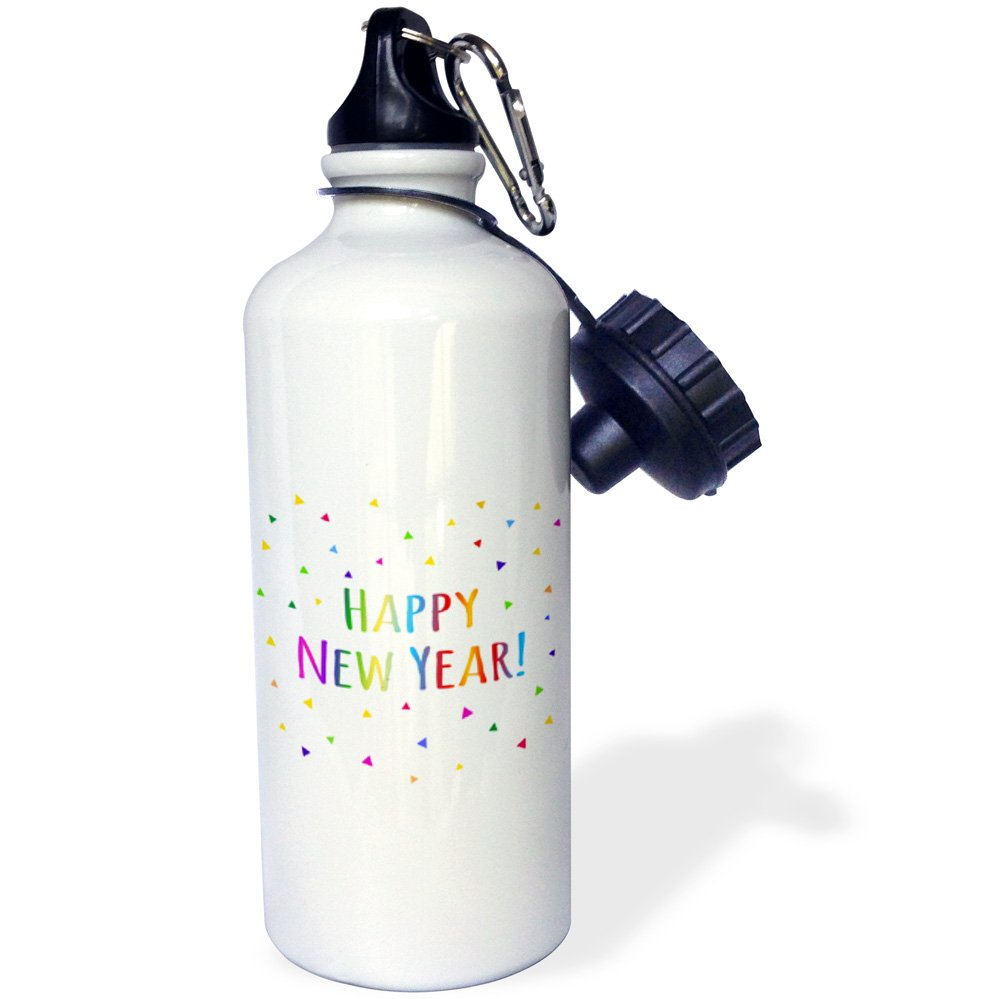 Multicolored 21Oz 3dRose wb/_202093/_1 Happy New Year Colorful Rainbow Text And Multicolor Confetti Triangles Sports Water Bottle