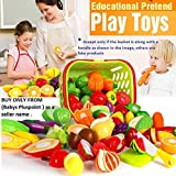 PLUSPOINT Realistic Sliceable Cut Fruits and Vegetable with Basket (18 pc)