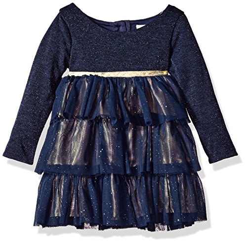 Youngland Toddler Girls' Sparkle Knit To Tiered Mesh Party Dress, Navy/Gold, 4T Tiered Mesh Dress