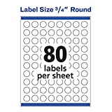 """Avery 3/4"""" Round Labels, Sure Feed, Laser"""