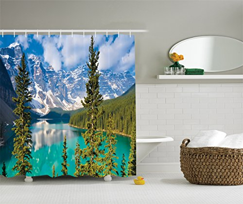 Ambesonne Cottage Decor Collection, Sight of Moraine Lake Rocky Mountains and Summer Forest after Alive Tall Floiaged Trees View, Polyester Fabric Bathroom Shower Curtain, 75 Inches Long, Teal Aqua Mountain Cottage
