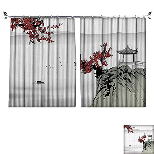 (DESPKON Environmental Protection Material Polyester Asian River ery with Cherry Blossoms and Boat Cultural Hints Mystical Artsy for Living Room Window,Sun Insulation. W72 x L72)