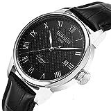 Gosasa Men Automatic Watches Men Black Leather Strap Roman Words White Dial Men Wristwatches