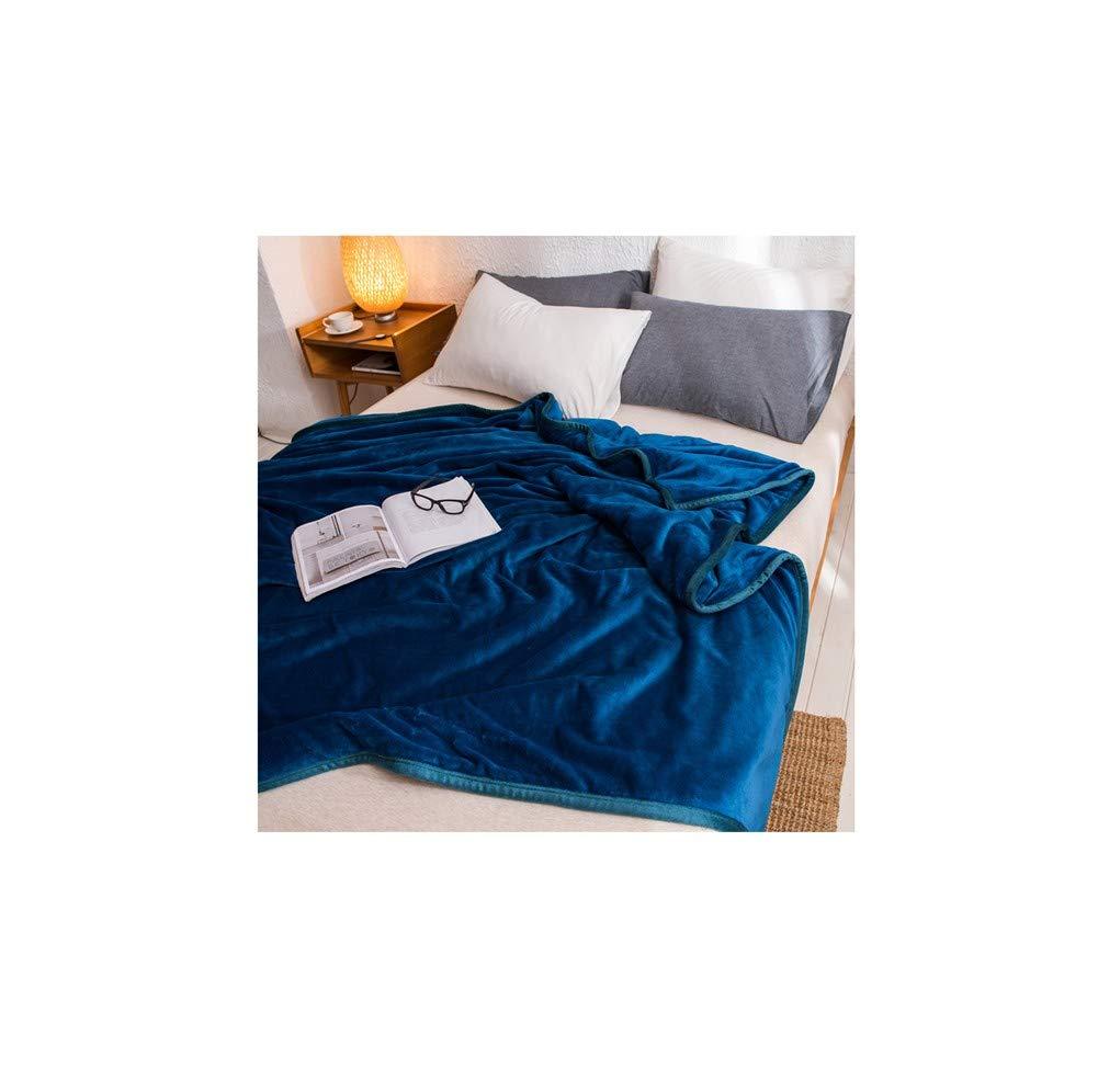 Yanshu Winterkissen Korallen Fleece Dicke warme Decke Steppdecke Flanell Plüsch Laken Menschen Schlafsaal einzigen Studenten flach dunkelblau 120X200cm