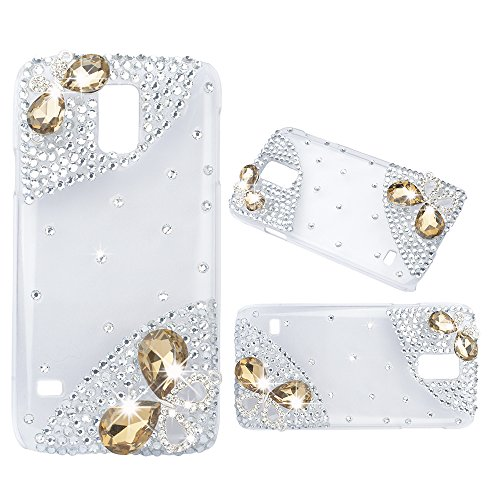 (Spritech(TM) Handmade Champagne Butterfly Diamond Design Hard Cover Case for Samsung Galaxy Note Edge)