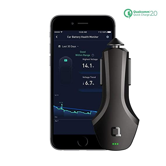 nonda ZUS Smart Connected Car App Suite – QC 2 0 36W Quick Charger with 2  USB Ports, Car Battery Health Monitor, Car Finder, Mileage Record, No OBD