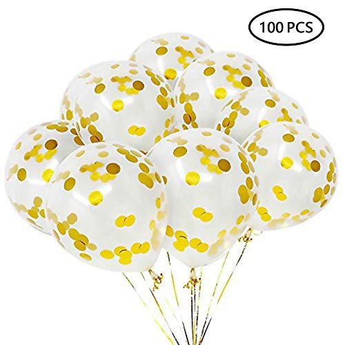Gold Confetti Balloons - Aolvo 20/50/100 Piece 12 Inch Premium Latex Party Balloons Golden Paper Confetti Dots Suitable for Party Brithday Memorial Day Anniversary Graduation by Leegoal