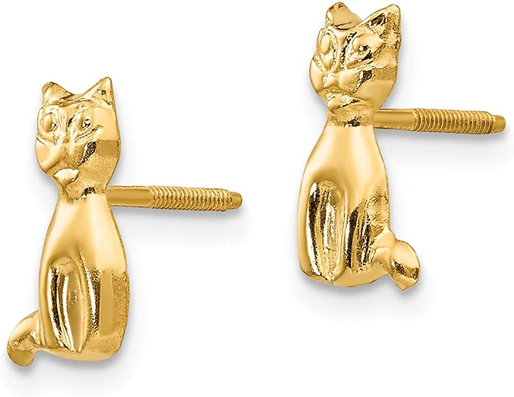 9X6MM Girls 14k Yellow Gold Cat Stud Earrings with Threaded Posts