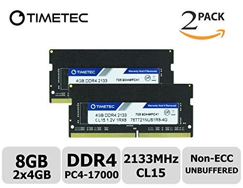 Timetec Hynix IC 8GB KIT (2x4GB) DDR4 2133MHz PC4-17000 Non ECC Unbuffered 1.2V CL15 1Rx8 Single Rank 260 Pin SODIMM Laptop Notebook Computer Memory Ram Module Upgrade (8GB KIT (2x4GB)) (Notebook Memory Sodimm)