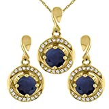 14K Yellow Gold Diamond Halo Natural Quality Blue Sapphire Earrings & Pendant Set Round 4mm