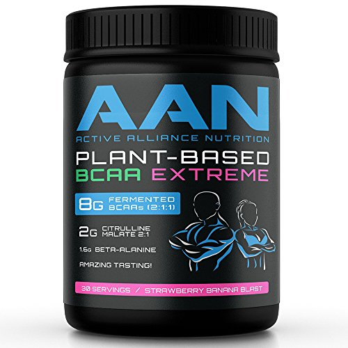 AAN Natural Plant-Based BCAA Powder Drink - Vegan Friendly, Fermented BCAAs, Citrulline Malate, Beta-Alanine - Intraworkout, Post-Workout and Pre Workout Protein (30 Servings, Strawberry Banana)