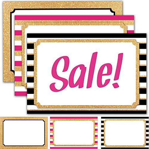"60 Retail Sale Signs 4"" x 6"" - Blank Sign Cards for Price Tags, Labels, Store Advertising and Sales Display Signage - Faux Glitter Gold and Neon Pink Theme"