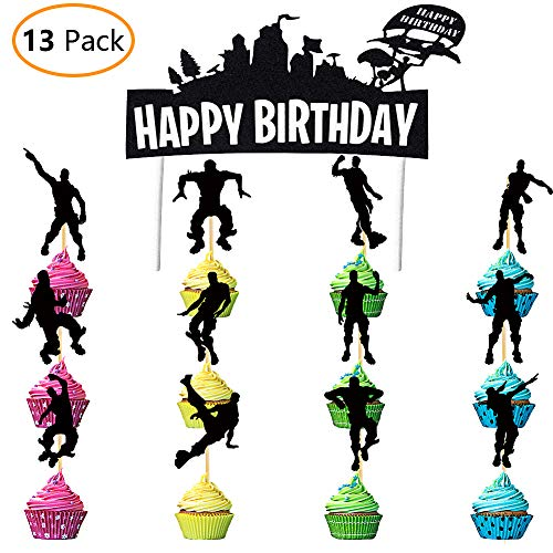 Price comparison product image DMight Birthday Party Supplies for Game Fans,  12 Pcs Dance Moves Cupcake Toppers(12 Styles),  1 Pcs Cake Decorations Topper