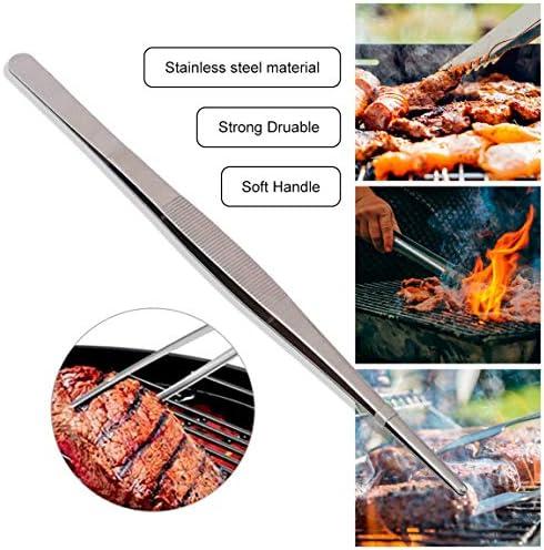 Très long pinceau en acier inoxydable de 30 cm / 12 pouces pour le barbecue Cuisine Poêles à salade au four Salade de poisson Pinces à servir Barbecue Outil (couleur: argent)