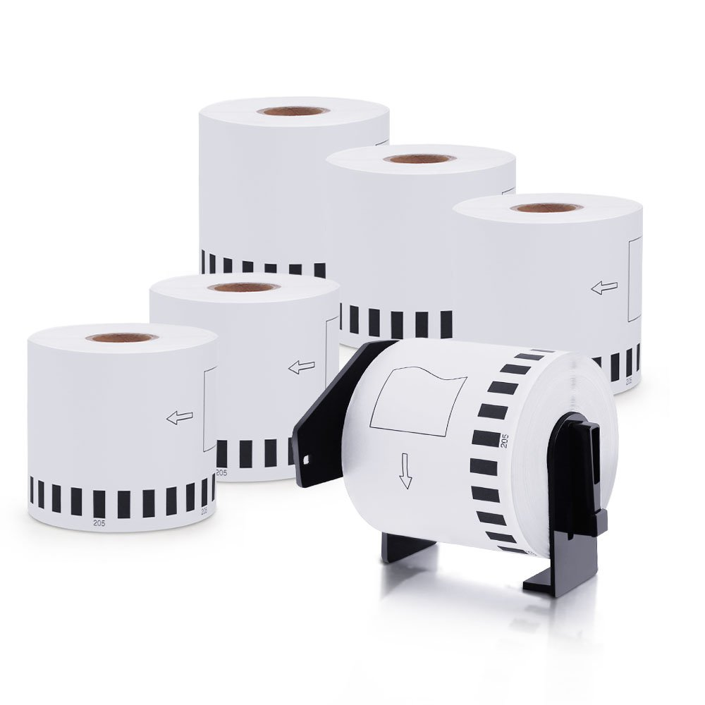 MarkDomain 6 Rolls Compatible with Brother DK-2205 White Continuous Tape Labels 2.4in x 100ft (62mm x 30.4m) With One Refillable Cartridge for QL-500 QL-570 QL-700 QL-710W QL-720NW QL-1060N Printer