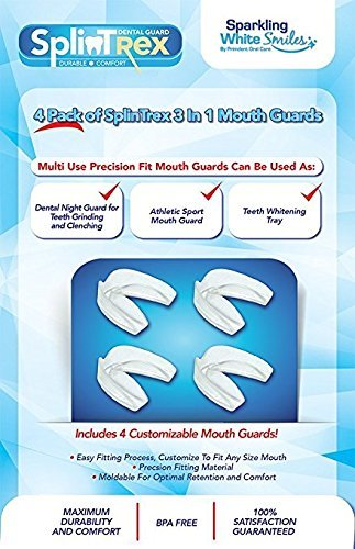 SplinTrex Multi Use Teeth Mouth Guards - 4 PACK - BPA Free - Teeth Grinding Dental Night Guard, Athletic Mouth Guard, Teeth Whitening Tray - Includes 4 Customizable Mouth Guards and Storage Case