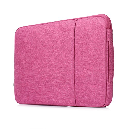 ICE FROG 15 inch Laptop Sleeve, Flexible Hand-held Water Repellent Jeans Fabric Notebook Sleeve Case Cover Bag for Macbook Pro 15 inch Retina Ultrabook Acer Asus Dell HP Chromebook - Hot Pink Frog Denim