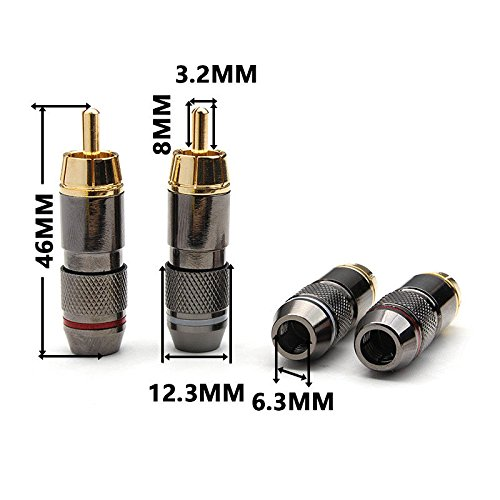 FidgetFidget Gold Plated Copper Speaker Audio Adapter Connectors EF 6Pair/12PC RCA Male Plugs