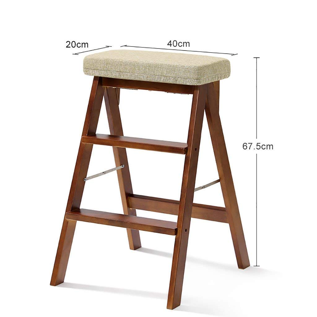 D-Z Chair Stool Step Stool Kitchen Portable Footstool Multipurpose Ladder Solid Wood Folding Step Stool, Stool 3, a