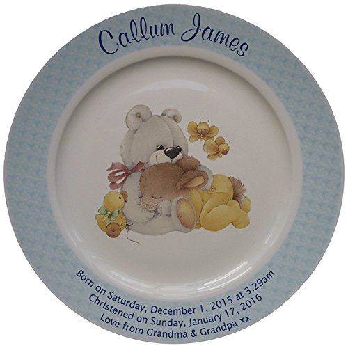 Personalized Birth Plate with a blue rim - Yellow Sleepytime design