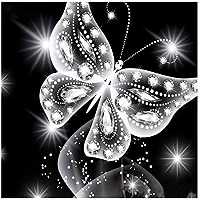 MXJSUA DIY 5D Diamond Painting by Number Kits Round Drill Rhinestone Pictures Arts Craft for Home Wall Decor 12x12In Butterfly