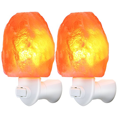 TomCare Salt Lamp, Himalayan Salt Light Glow Hand Carved Natural Crystal Himalayan Night Lights Wall Light with UL Approved Wall Plug for Decoration and Lighting (2)