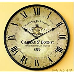 Europe Country French Design Big Wall Clock with Roman Numeral Face Metal Frame
