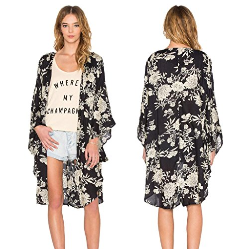 Women's Blouse, Laimeng Boho Floral Printed Chiffon Shawl Kimono Cardigan Tops Cover up (XL)