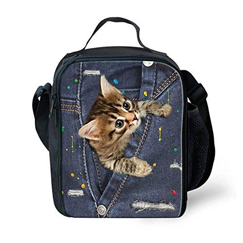 Nopersonality Bolsa de almuerzo para perro y gato para mujeres, niñas y niñas, color azul, Denim Pet2, Medium Denim Pet4