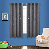 Nursery Curtains NICETOWN Naptime Essential Nursery Window Curtain for Kid's Room, Bedroom Blackout Curtain Panel With Die-cut Stars (1 Panel, W52 x L63-Inch, Grey)