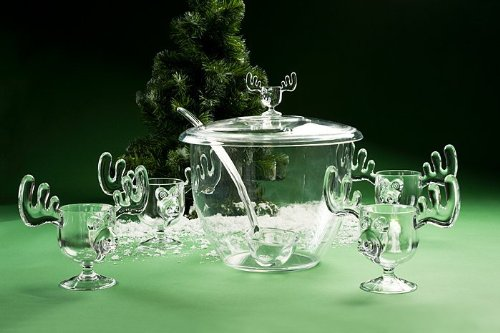 Christmas Moose Mug Punch Bowl Set with 6 Moose Mugs - Safer Than Glass by A&R Collectibles
