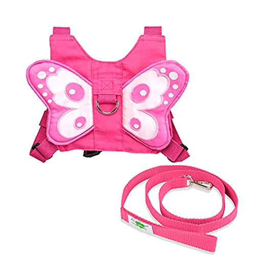 Baby Lovess Baby Safety Harness Walking Belt Baby Walk Assistant Child Harness Toddler Backpack with Leash Strap Baby Walk Assistant (Pink-butterfly) (Baby Walker Leash)