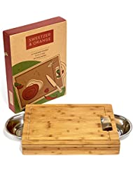 Large Bamboo Cutting Board with Stainless Steel Bowls and Juice Groove