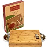 Large Bamboo Cutting Board with Stainless Steel Bowls and Juice Groove   Great tool for prepping vegetables, meat, and chicken   Thick Wood   17.5 x 13 x 2.5 Inches   A Perfect Gift!