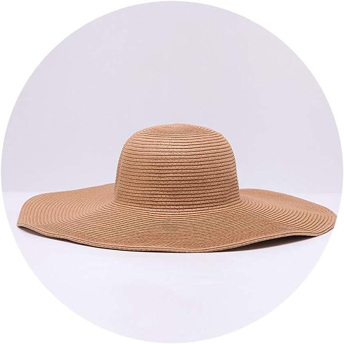 fe52b2dd CouGoo Wide Brim Floppy Straw Hat Sun Hat Beach Women Hat Children Summer  Hat Uv Protect