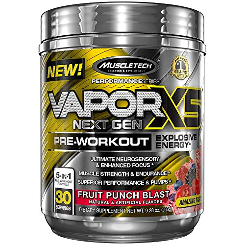 Nitro Fusion Berry - MuscleTech Vapor X5 Next Gen Pre Workout Powder, Explosive Energy Supplement, Fruit Punch Blast, 30 Servings (9.28oz)