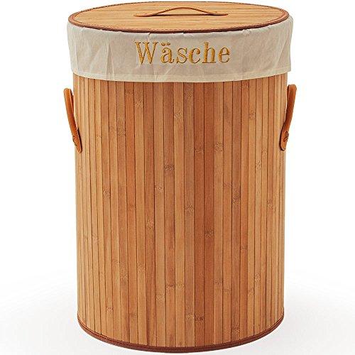 Wäschekorb Bambus natur rund 100 Liter hellbraun Wäschebox Wäschetruhe Wäschesammler