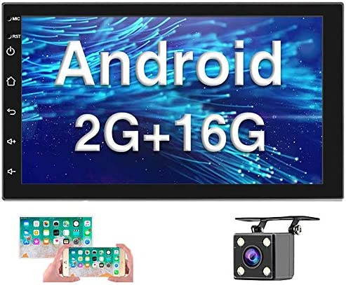 [2G+16G] Double Din Android Car Stereo with GPS 7 Inch Capacitance Touch Screen FM Radio Reciever Supports Mirror Link for iOS/Android Phones WiFi Connect + Backup Camera