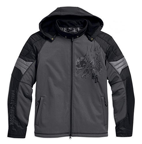 Harley-Davidson® Mens Carboy Reflective Hooded Riding Grey Black Functional Jacket 97109-16VM (XX-Large)