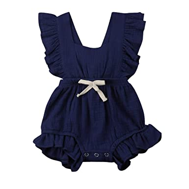 14e1d152b7d YOUNGER TREE Toddler Baby Girl Ruffled Collar Sleeveless Romper Jumpsuit  Clothes (Blue