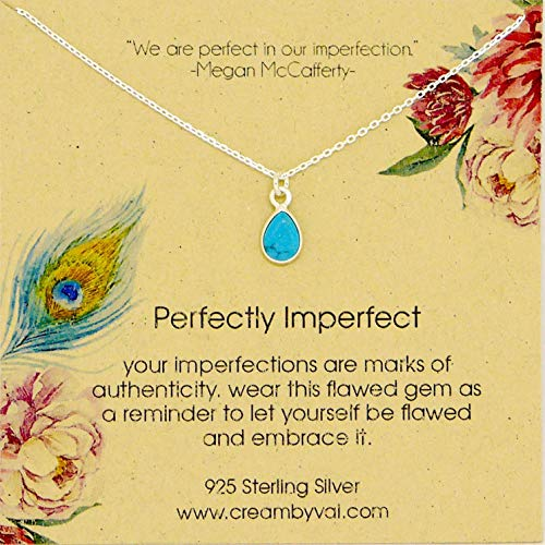 Perfectly Imperfect Teardrop Turquoise Sterling Silver Necklace - 16'' Length