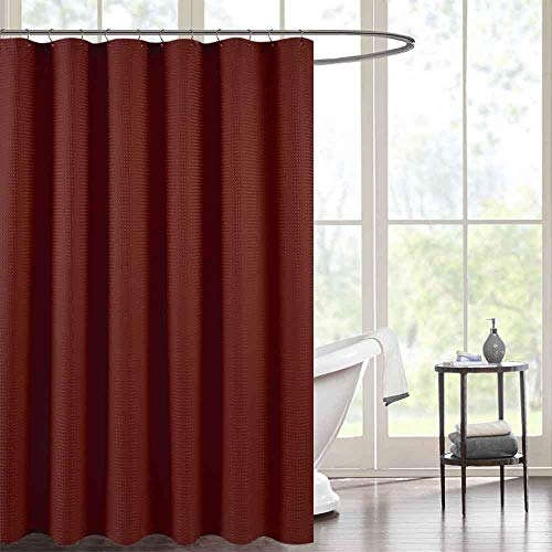 Waffle Weave Fabric Shower Curtain for Bathroom Burgundy 72 inch Long Water Repellent Shower Curtain in Bath