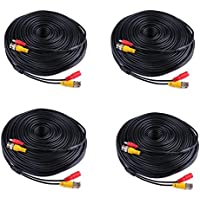 ANNKE 150ft (45 meters) 2-In-1 Video/Power Cable with BNC Connectors and RCA Adapters for Security Camera Systems (4-Pack) Black