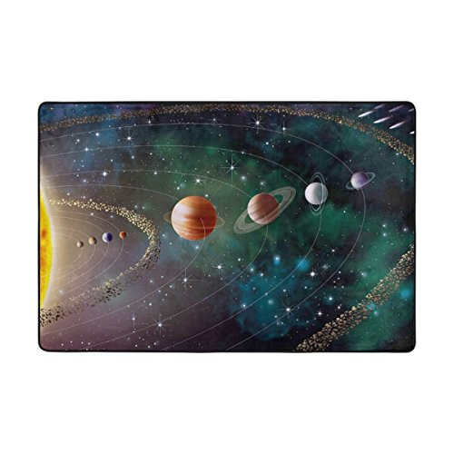 Ethel Ernest Non-slip Doormat Solar System Planets Galaxy Space Area Rug Carpet Floor Mats Door Mat Indoor Outdoor Bathroom by COLMAT