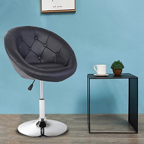 Costway Swivel Accent Chair Tufted Round-Back Tilt Chrome Contemporary Round (Black)