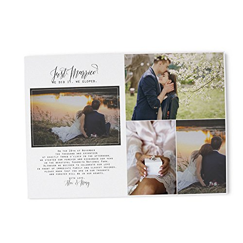 Wedding Rsvp Custom Announcements (Photo Elopement or Wedding Announcement Party Invitation Cards by LoveAtEverySight | Envelopes Included, Custom, Personalized Cardstock - Marriage Reception, We Eloped - 5