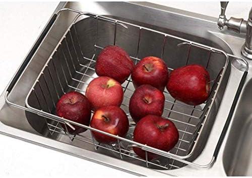 BESTONZON utensilios de cocina cesta de almacenamiento Escurreplatos extensible ajustable sobre el fregadero