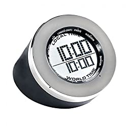 MD Group Clock World Time Multifunction Arabic Number Metal & Rubber Material Travel Clock