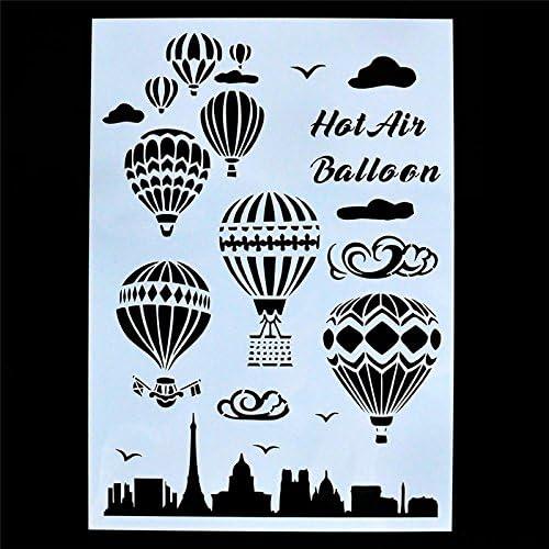 Wall Graffiti Tool Reusable Hot Air Balloon Stencil Hot Air Balloon Stencil DIY Painting Stencil Hollow Stencil for Paper Coloring
