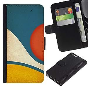 For Apple iPhone 6 Plus(5.5 inches),S-type® Blue Yellow Pastel Abstract Minimalist - Dibujo PU billetera de cuero Funda Case Caso de la piel de la bolsa protectora